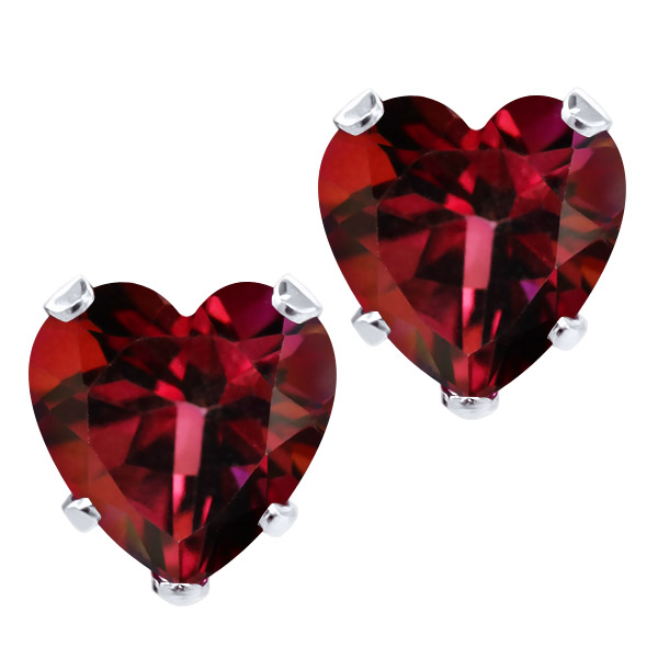 Gem Stone King 4.56 Ct Heart Shape 8mm Crimson Red Mystic Topaz 925 Silver Stud Earrings