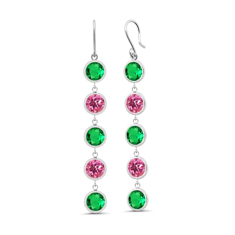 Gem Stone King 4.31 Ct Round Green Nano Emerald Pink Mystic Topaz 925 Sterling Silver Earrings