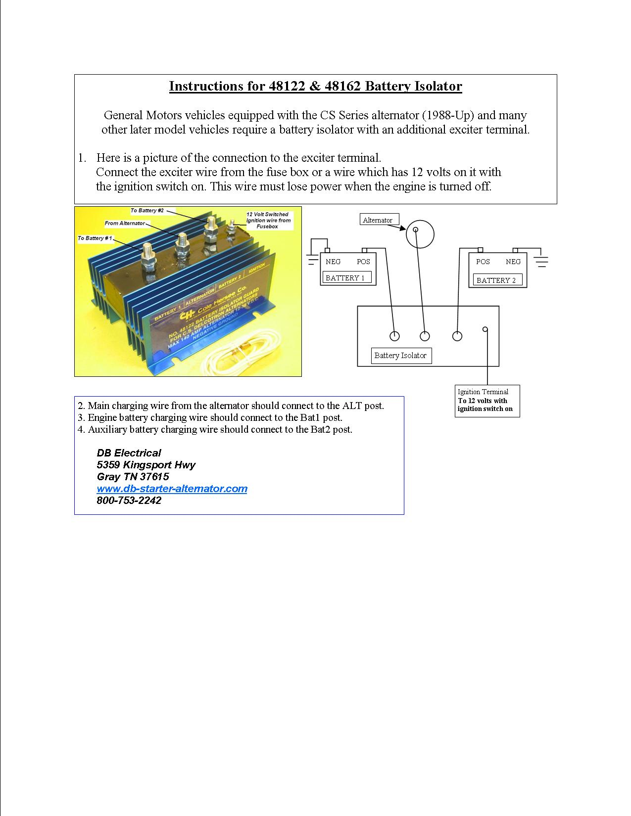 Ib 750 Battery Isolator Wiring Diagram Library Vehicle Alternator Cole Hersee Free 12v
