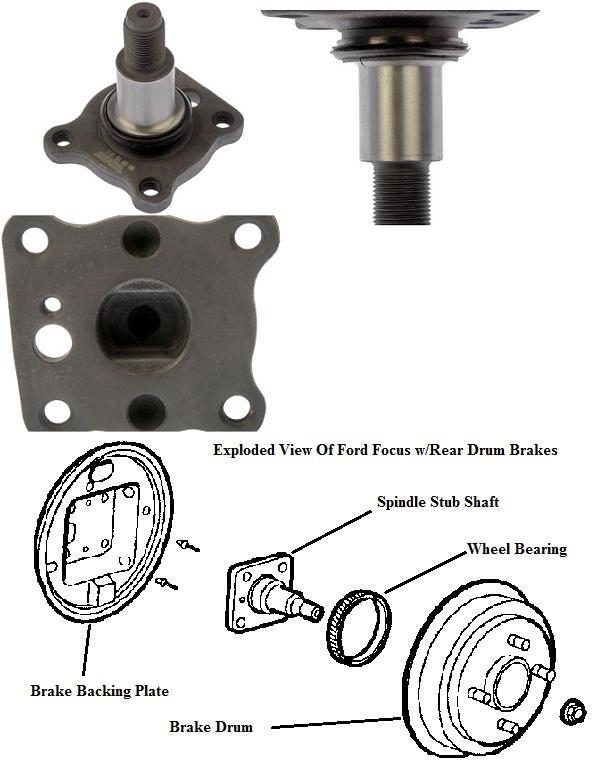 2000 Ford Focus Rear Wheel Spindle : Ford focus drum brakes rear wheel hub spindle