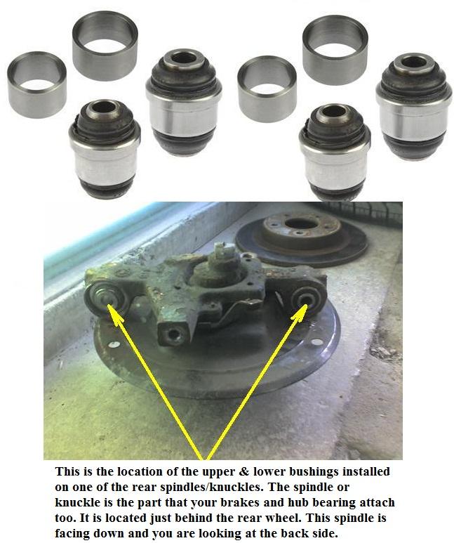 Steering Knuckle Repair Cost: Rear Upper Lower Knuckle Spindle Suspension Bushing Set