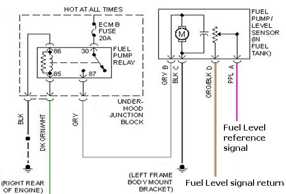 installing a fuel pump with a new harness connector on a, Wiring diagram