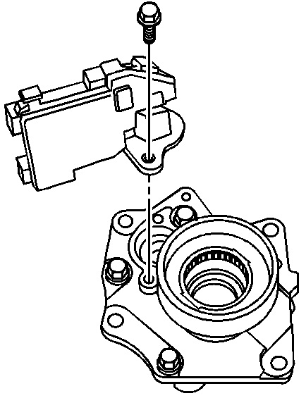 removing front differential axle actuator from intermediate shaft bearing assembly jpg