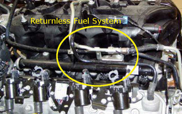 regulator, either mounted on the fuel rail or on top of the fuel pump