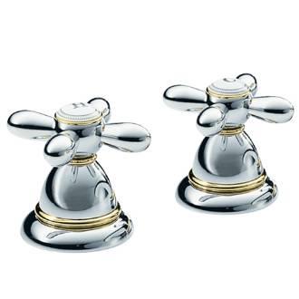 Hansgrohe 17426 Axor Carlton Bath Tub Deck Valves, Two Handle Chrome / Gold