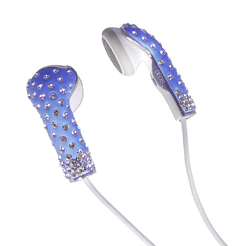 Deos Swarovski Crystal Earphone Covers for iPhone and iPad Blue - iPod and Cell Phone Accessories Electronics