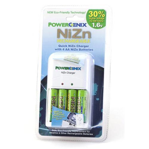 PowerGenix ZR-PGX1HRAA-4B Charger w 4 AA NiZn Batteries