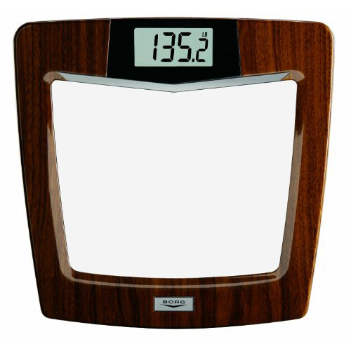 Borg BDL928KD-53 Digital Weight Scale Glass/Mahogany - Scales Personal Care