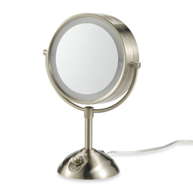 details about conair be103 lighted 10x satin nickel makeup mirror new. Black Bedroom Furniture Sets. Home Design Ideas