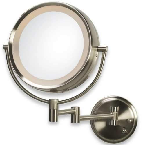 lighted 8x 1x brushed nickel fog free wall mount makeup mirror ebay. Black Bedroom Furniture Sets. Home Design Ideas