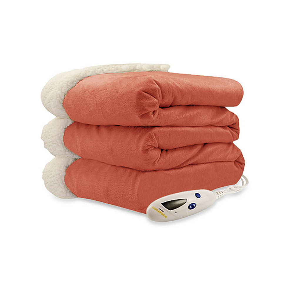 Biddeford luxuriously soft micro mink and sherpa heated for Soft blankets and throws