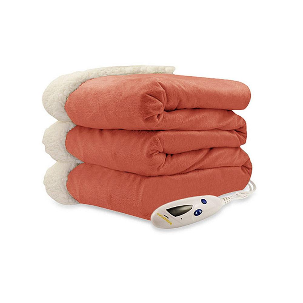 Biddeford luxuriously soft micro mink and sherpa heated for Sherpa blanket