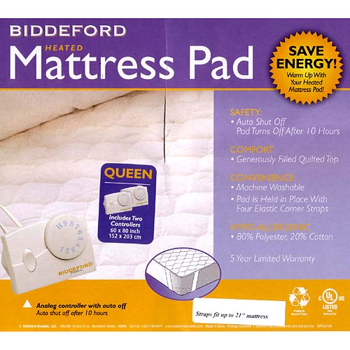 Biddeford Queen Quilted Electric Heated Mattress Pad