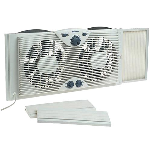 Holmes HAWF2041 Dual Blade Twin Window Fan with One Touch Thermostat - White - Fans Home and Garden