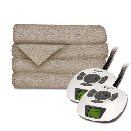 Sunbeam LoftTec Ultra Soft Electric Heated Blanket, Queen Size Mushroom