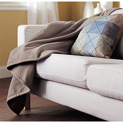 Sunbeam Electric Heated Fleece Warming Throw Blanket Mushroom Tan