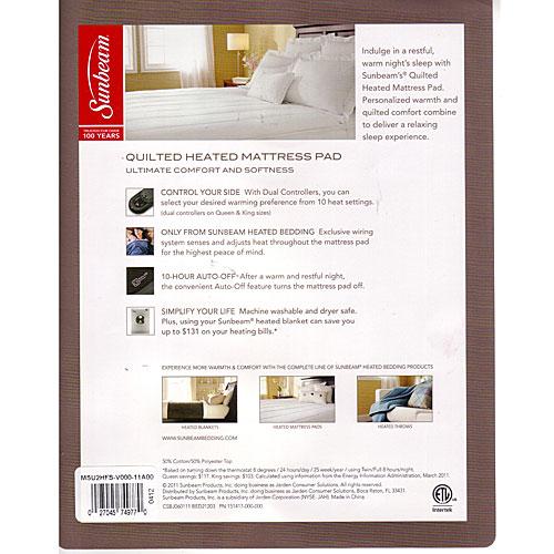 Sunbeam Premium Quilted Box Pattern Heated Electric Mattress Pad