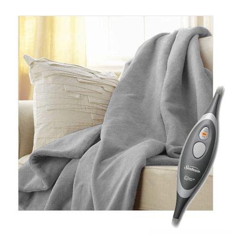 Sunbeam Microplush Electric Heated Throw Blanket Mid Grey TRM8VS-R881-37A
