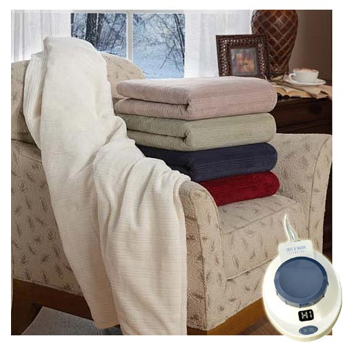 Soft Heat Micro-Plush Electric Heated Triple Rib Throw Blanket