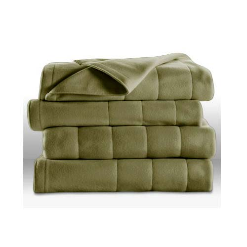 Sunbeam Heated Electric Blanket Royal Dreams Quilted Fleece Twin Ivy Green