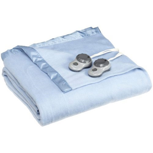 Sunbeam Heated Electric Blanket Quilted Fleece Royal