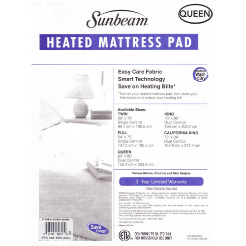 Sunbeam Imperial Queen Heated Electric Mattress Pad NEW