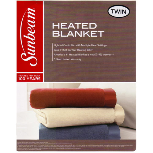 Sunbeam Twin Electric Heated Warming Blanket Seashell Off White
