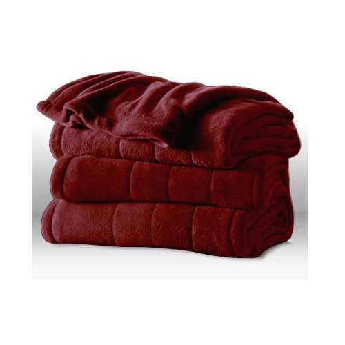 Sunbeam Heated Electric Blanket Channeled Microplush King Size Garnet Red at Sears.com