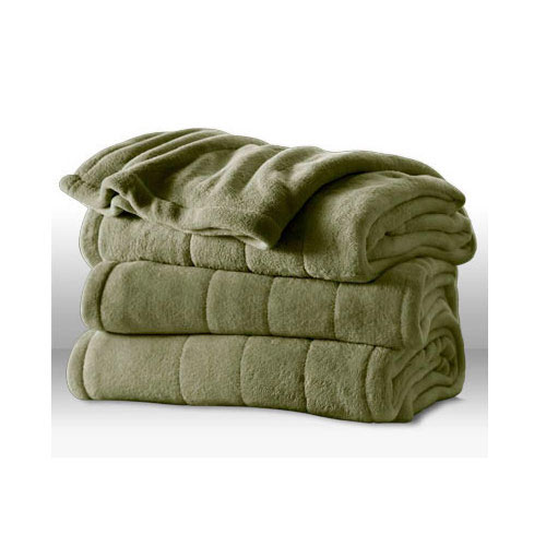 Sunbeam Channeled Microplush Heated Electric Blanket King Size Sage Green