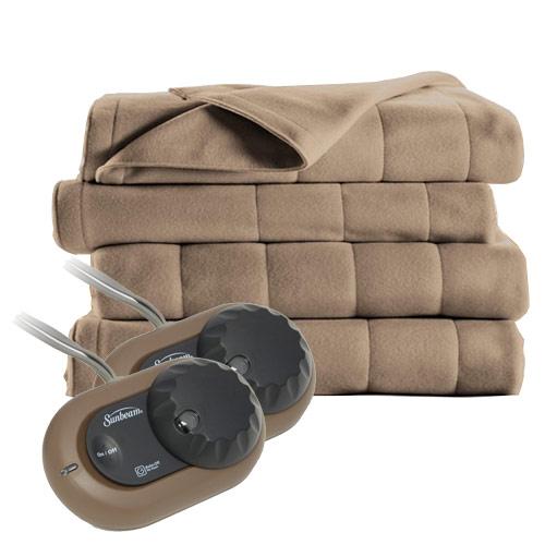 sunbeam heated electric blanket quilted fleece king. Black Bedroom Furniture Sets. Home Design Ideas