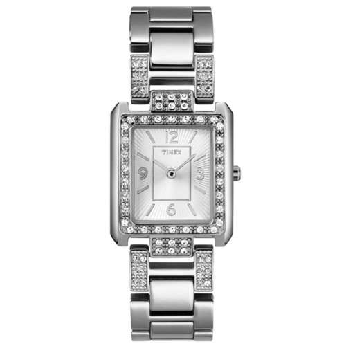 Timex T2N030 Ladies Classic Stone Set Silver Tone Watch