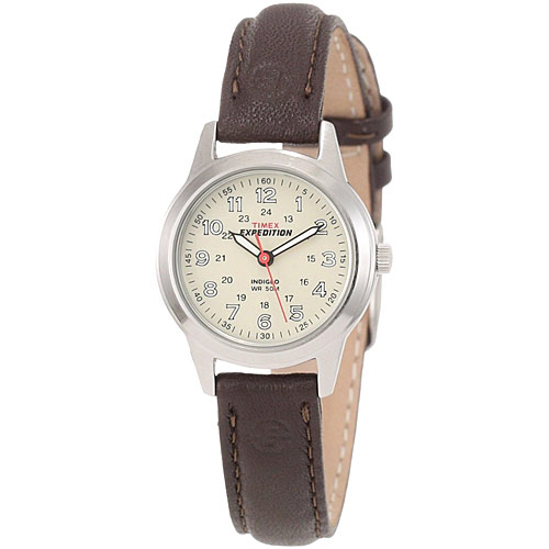timex t40301 womens expedition brown leather steel