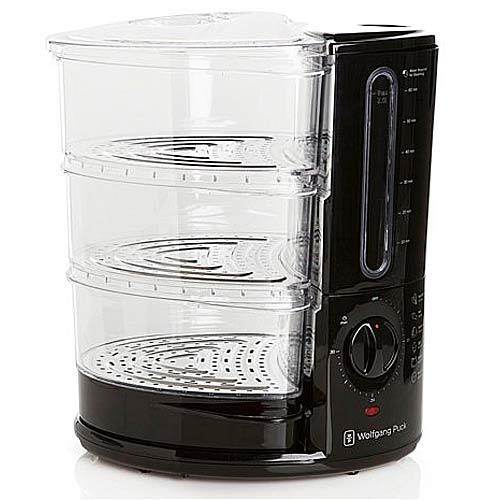 Wolfgang Puck BERFS010B 1400-Watt 3-Tier Rapid Food Steamer Black - Specialty Accessories Kitchen Appliances
