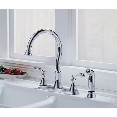 delta 21925lf vessona two handle kitchen faucet w spray