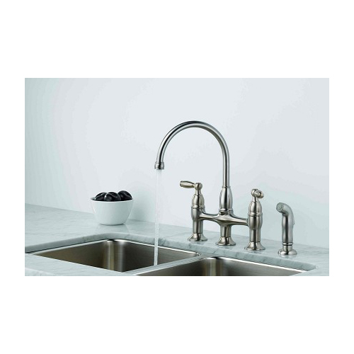 Delta 21966lf Ss Dennison Bridge Kitchen Faucet W Spray Stainless Steel Ebay