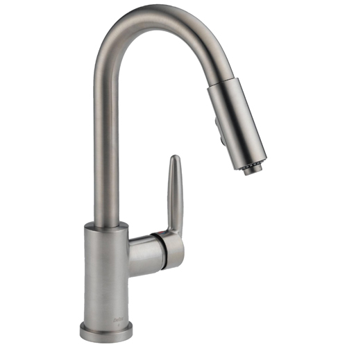 Delta 985 SSSH Grail Single Handle Pull Down Spout Kitchen Faucet, Stainless