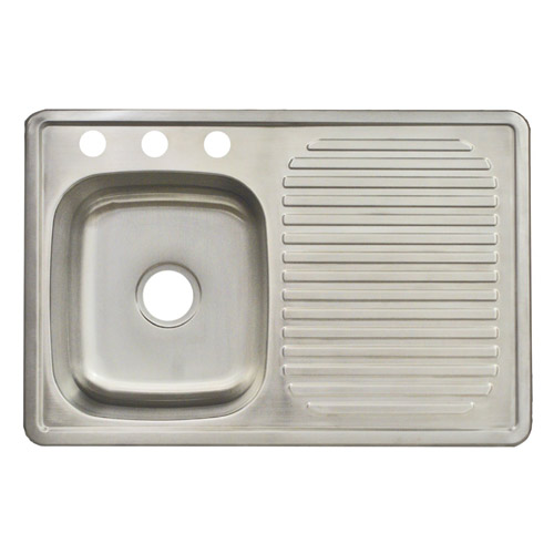 Charming Franke USA FDBS703BX 3 Hole Single Bowl Kitchen Sink W/ Drain Board .