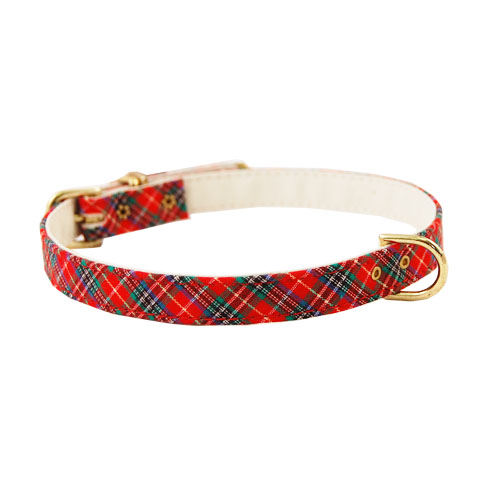 Pet Supply Imports Red Scottie Adjustable Plaid Dog Collar, 12 Inch Neck