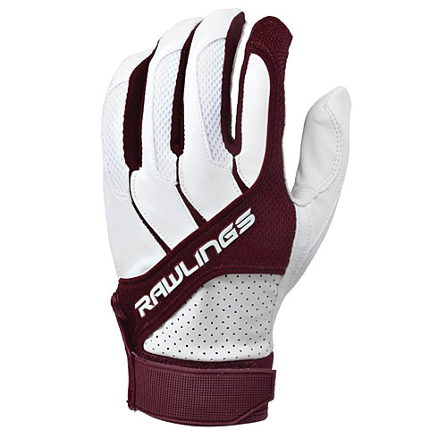 Rawlings BGP1150T-MA-88 Adult Batting Gloves Maroon, Size Small - Baseball and Softball Outdoor Sports
