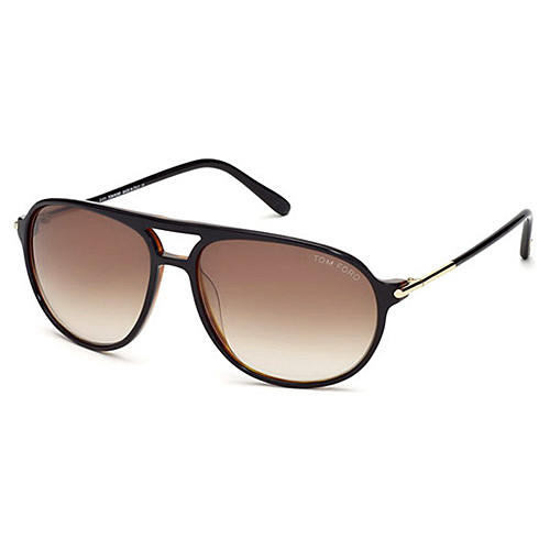 Tom Ford FT0255 01B John Sunglasses Shiny Black w/ Smoke Gradient Lens - Tom Ford Sunglasses Fashion
