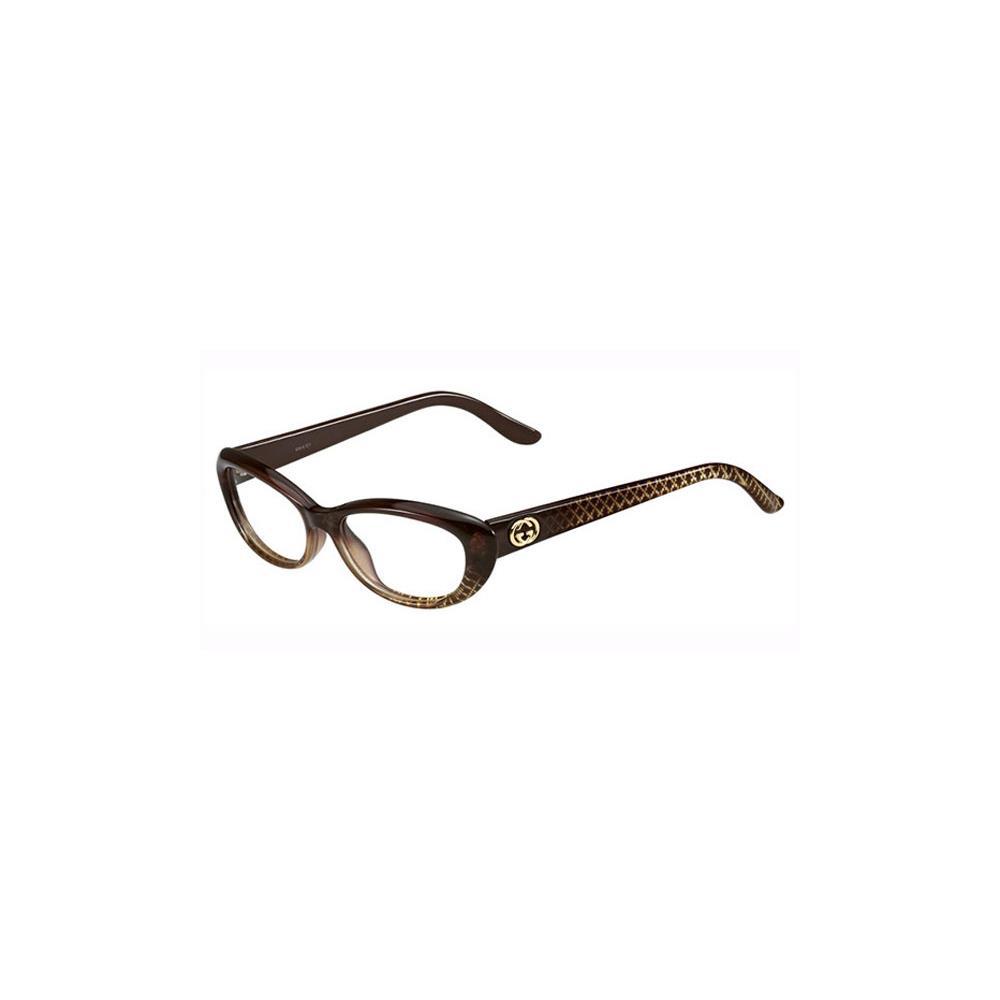 Gucci Ladies Glasses Frame : Gucci Womens Eyeglasses 3566 W9B/16 Plastic Oval Brown ...