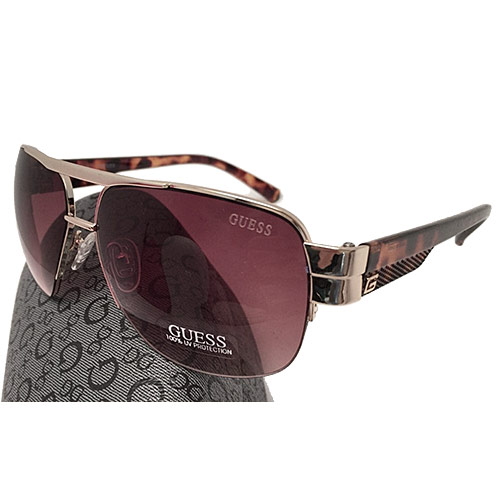 Guess GUF 127 GLD-34A Men's Aviator Sunglasses, Tortoise Gold Frame Brown Lens