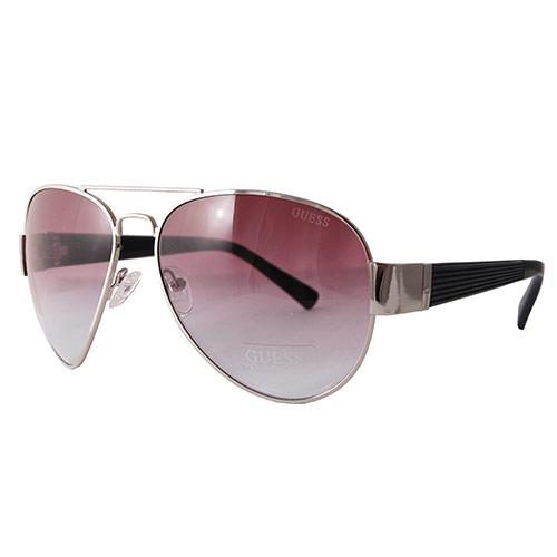 Guess GUF 129 SI-48A Men's Designer Aviator Sunglasses, Silver