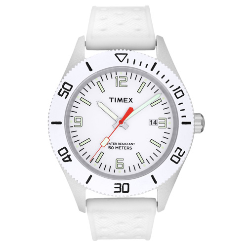 Timex T2N533 Premium Originals Sportster White Dial White Band Casual Watch