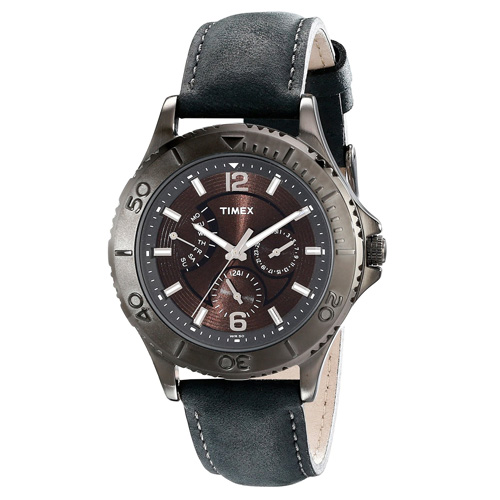 Timex T2P178 Ameritus Retrograde Multifunction Gray Leather Strap Watch