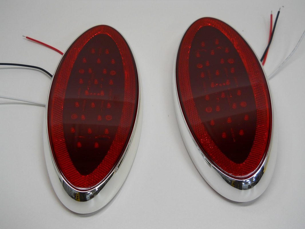 "10 LED 4/"" Stop-Turn-Brake Red Tail Light w// Chrome Bezel Hot Rod Trailer"