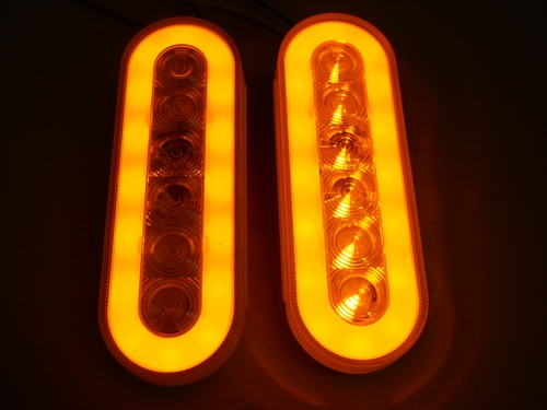 Quot Halo Quot Clear Amber Led 6 Quot Oval Trailer Truck Turn Signal