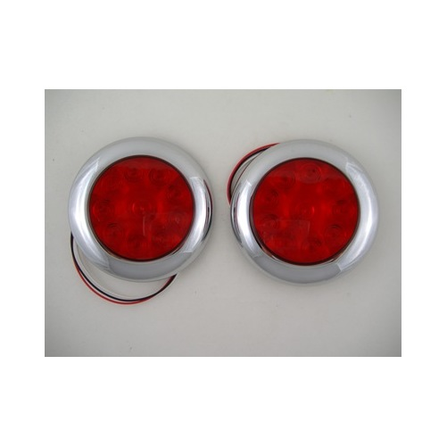 red 10 led 4 round surface mount stop turn brake tail. Black Bedroom Furniture Sets. Home Design Ideas
