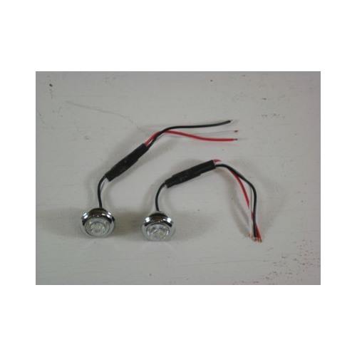 2 Custom Mini 34 Round Red 3 LED Stop Turn Tail Lights Clear
