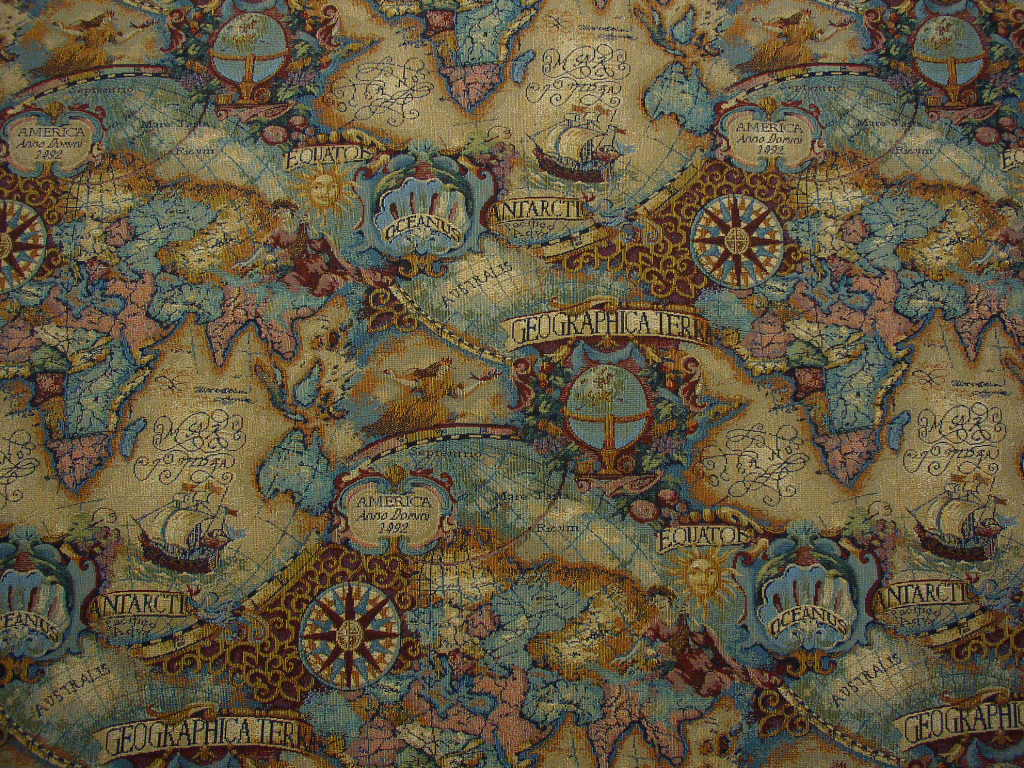 Magellan 39 s quest old world map upholstery fabric multi ebay for Cloth world fabrics